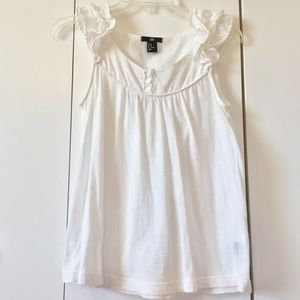 H&M White Soft Cotton Ruffle Shoulder Boho Top